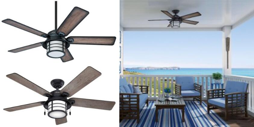 Hunter Fan 59135 Key Biscayne 54 Weathered Zinc Ceiling With Five Reversible Blades