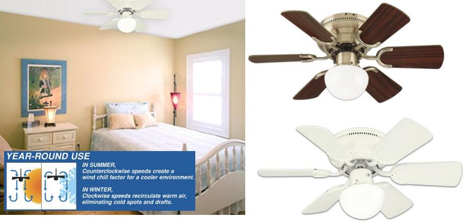 Westinghouse 78108 Petite 6 Blade 30 Inch 3 Speed Hugger Ceiling Fan with Light - quiet year round use