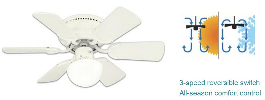 Westinghouse 78108 Petite 6 Blade 30 Inch 3 Speed Hugger Style Ceiling Fan  With Light