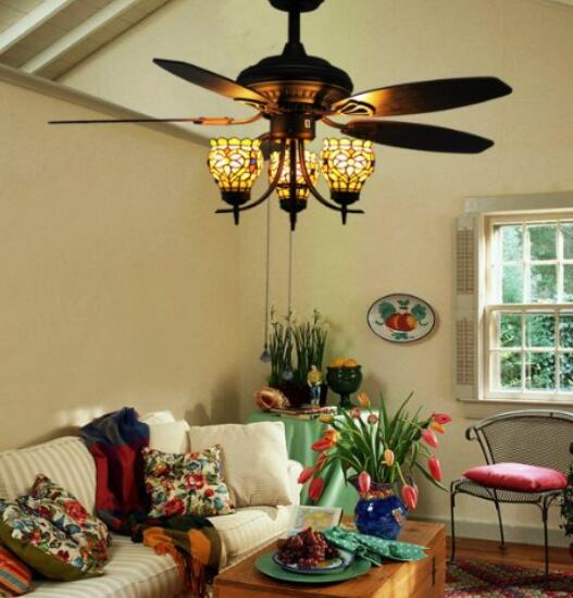 Makenier Vintage Tiffany Style Stained Glass 3-light Flowers Uplight 5-blade Ceiling Fan Light Kit