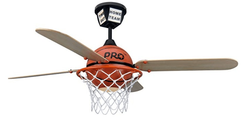 The Craftmade Four Blade Basketball Ceiling Fan For Boys Room