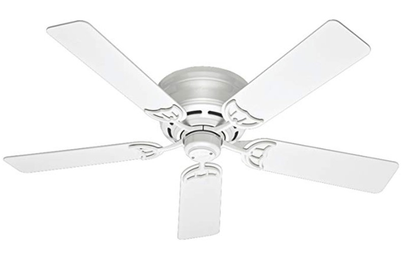 Best White Color - Hunter 53069 Low Profile 52-Inch Ceiling Fan with Five White Blades