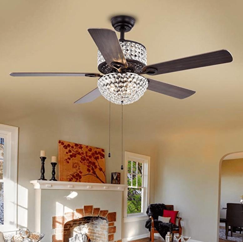 Best Chandelier - Warehouse of Tiffany CFL-8170BL Crystal 52-inch Ceiling Fan on Sale