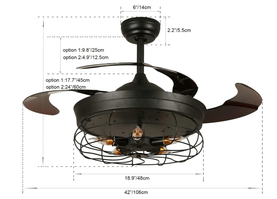42 inch black ceiling fan with light