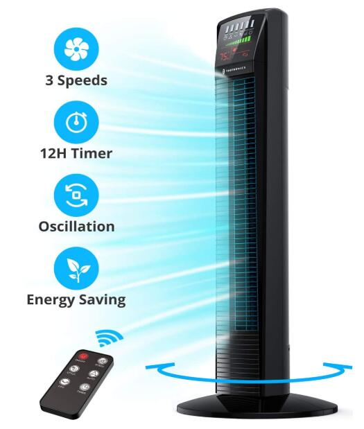 bedroom tower fan with lcd display